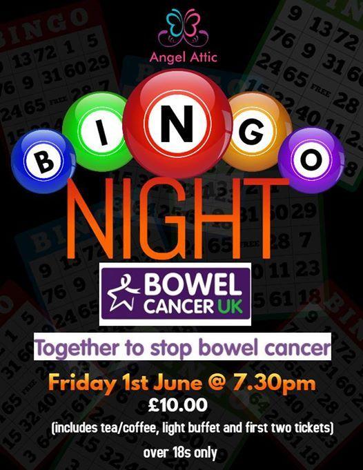 Prize Bingo Night fundraiser for Bowel Cancer UK