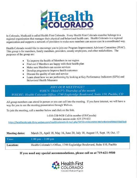 Program Improvement Advisory Committee at Health Colorado's Office