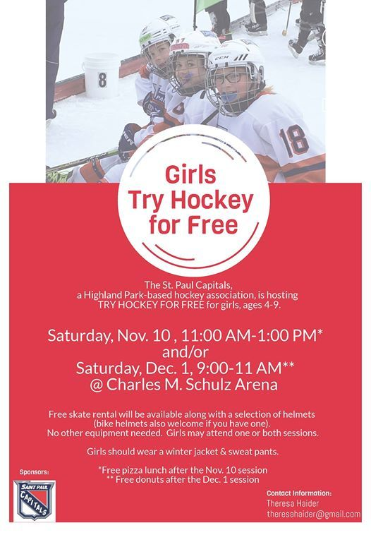 Girls Try Hockey For Free At St Paul Capitals Hockey