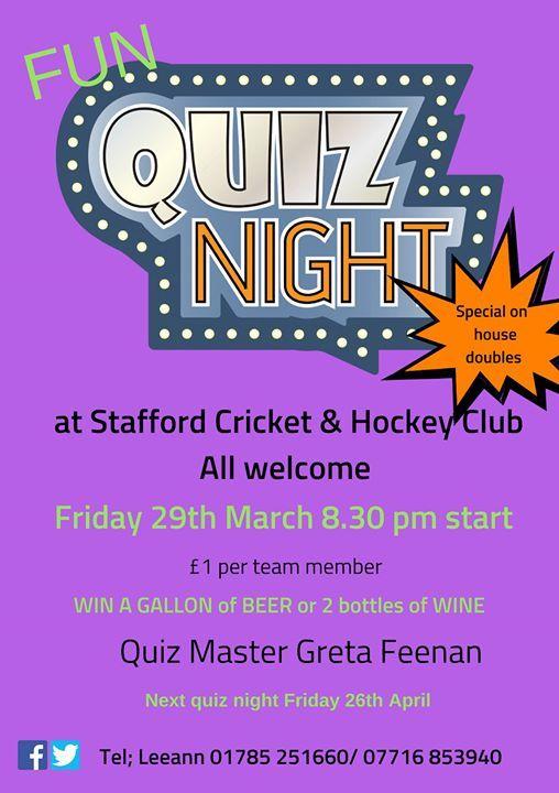 March Fun Quiz Night at The Cricket Club