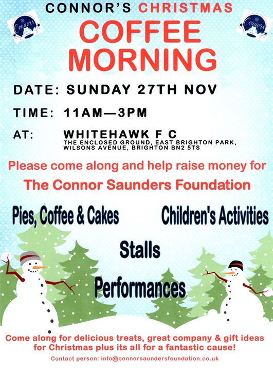 Connors Christmas Coffee Morning At Whitehawk Football Club