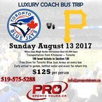 Pittsburgh Pirates at Toronto Blue Jays Luxury Coach Bus Trip