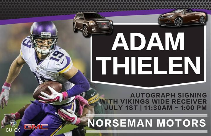 mn vikings adam thielen autograph signing at norseman motors inc detroit lakes. Black Bedroom Furniture Sets. Home Design Ideas
