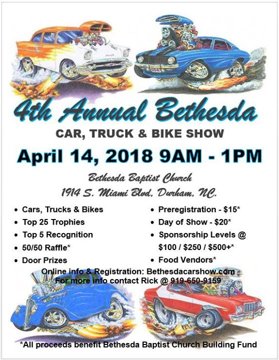 Th Annual Bethesda Car Truck And Bike Show At Bethesda Baptist - Car show sponsorship levels