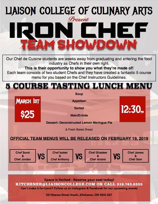 Iron Chef Showdown - 5 Course Lunch Menu