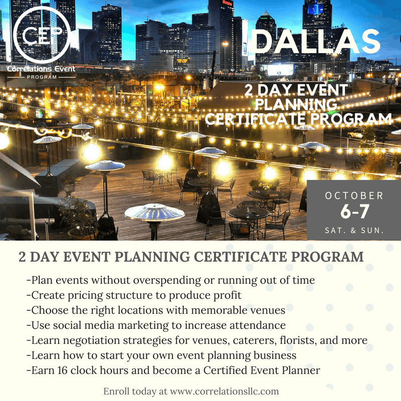 2 Day Dallas Event Planning Certificate Program October 6-7, 2018 at ...