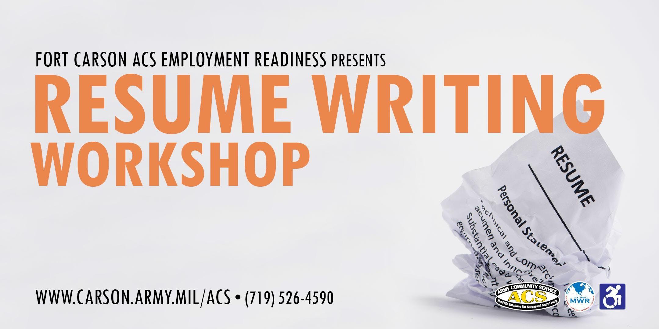 resume writing workshop at acs center colorado springs