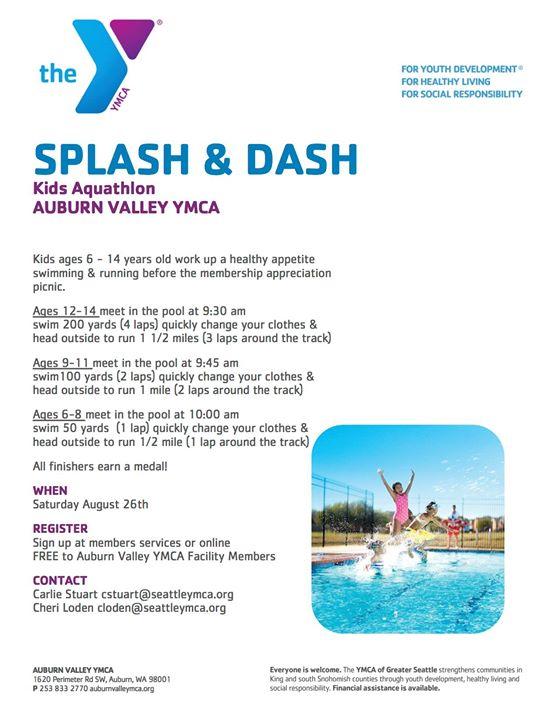 Splash & Dash Kids Aquathlon at Auburn Valley YMCA, Auburn