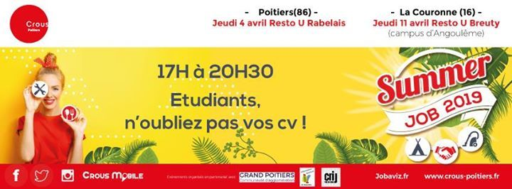 Summer Job étudiant Poitiers 4 Avril 2019 At Restaurant