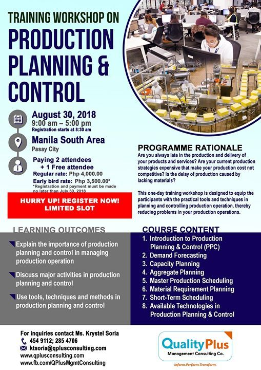 Production Planning and Control Training Workshop at The