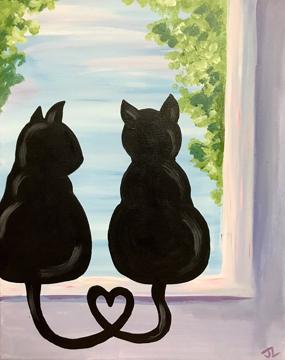 Paint Sip Cats In A Window At Wine Design Winston Salem