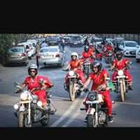 motor bike riding by men and women