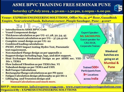 ASME BPVC Free Seminar at Pune
