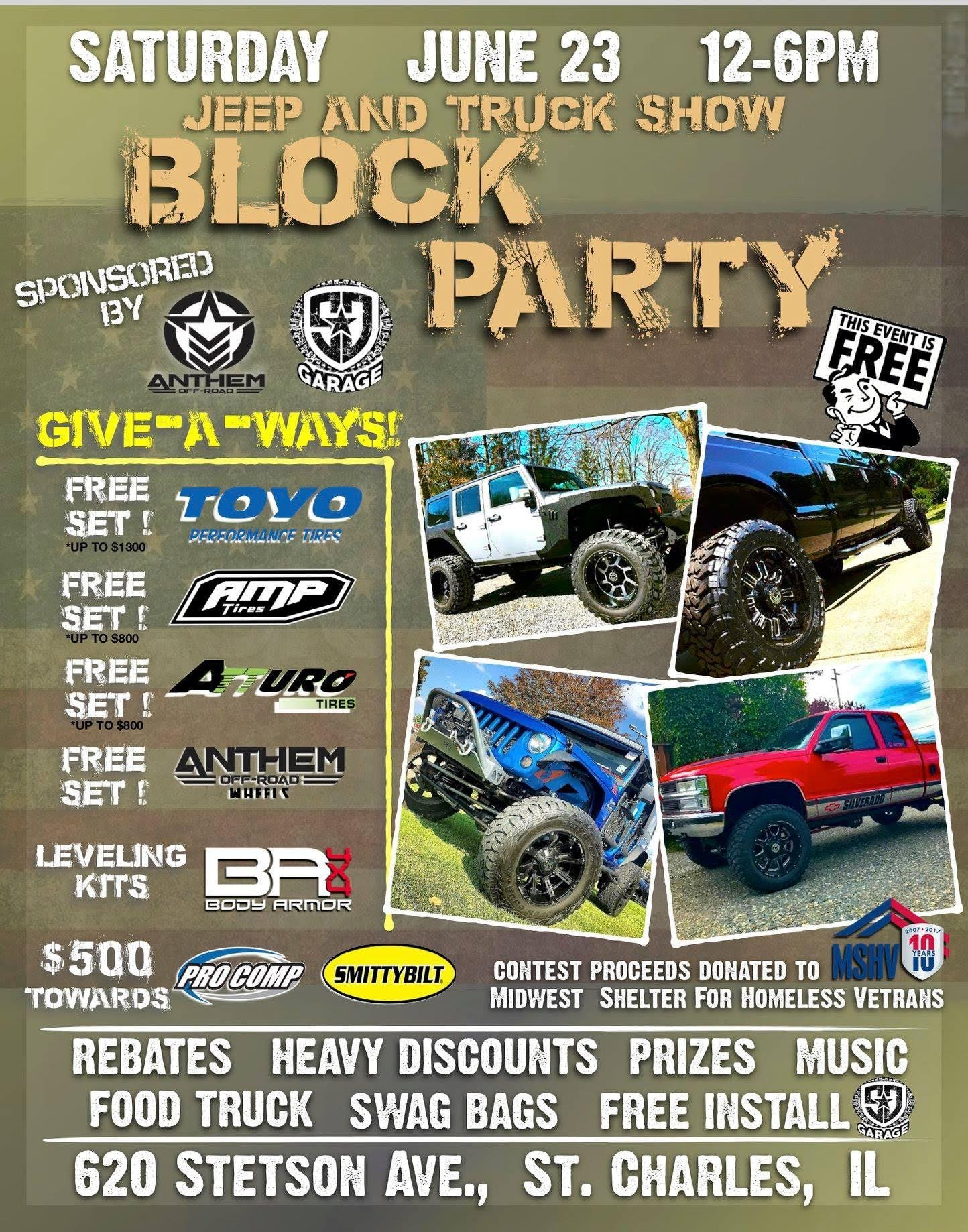 BLOCK PARTY Truck Jeep X Car Show FREE Wheel Tire Givea - Car pro show discount