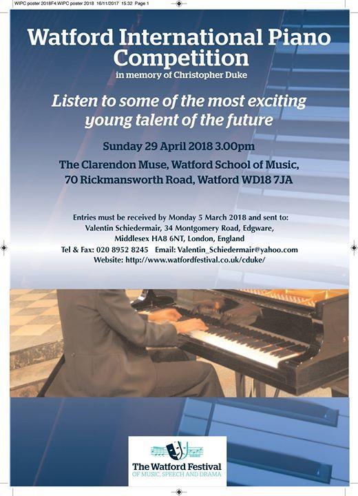 Watford International Piano Competition at Clarendon Muse, Watford