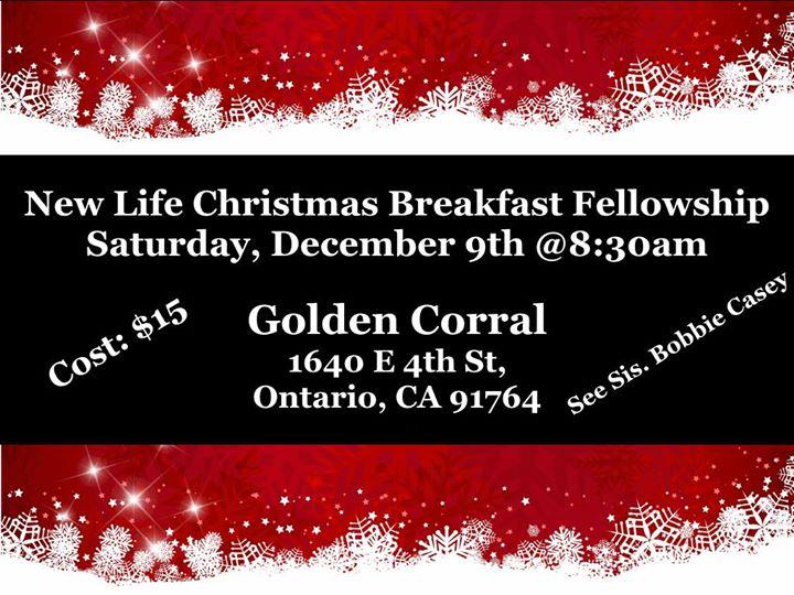 new life cc 1st annual christmas breakfast fellowship at golden corral ontario california ontario