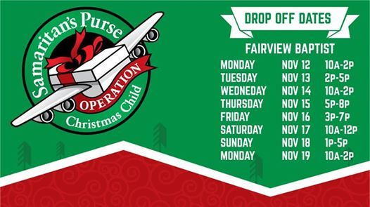 Operation Christmas Child Drop Off.Operation Christmas Child Drop Off At Fairview Baptist