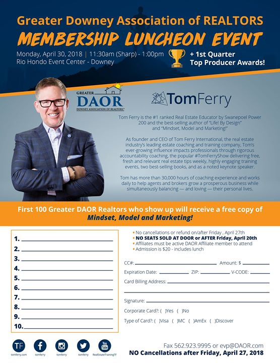 April Membership Luncheon SOLD OUT at Downey Association of