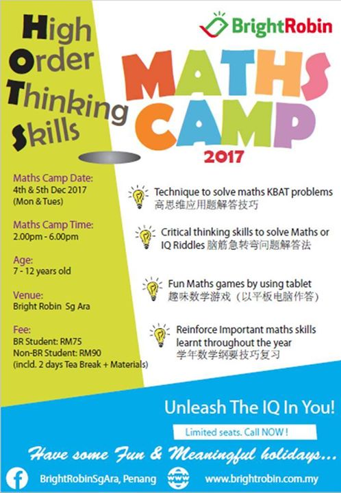 High Order Thinking Skills MATHS CAMP 2017 at Bright Robin Sg Ara ...