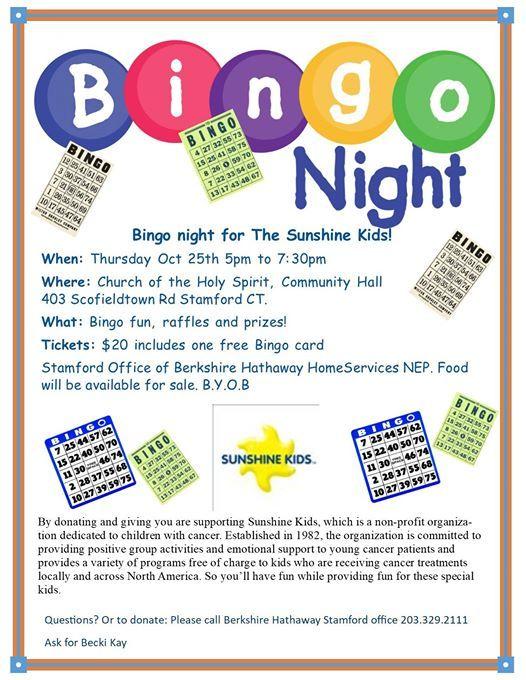 Bingo Night To Support Sunshine Kids At Stamford Office Of Berkshire