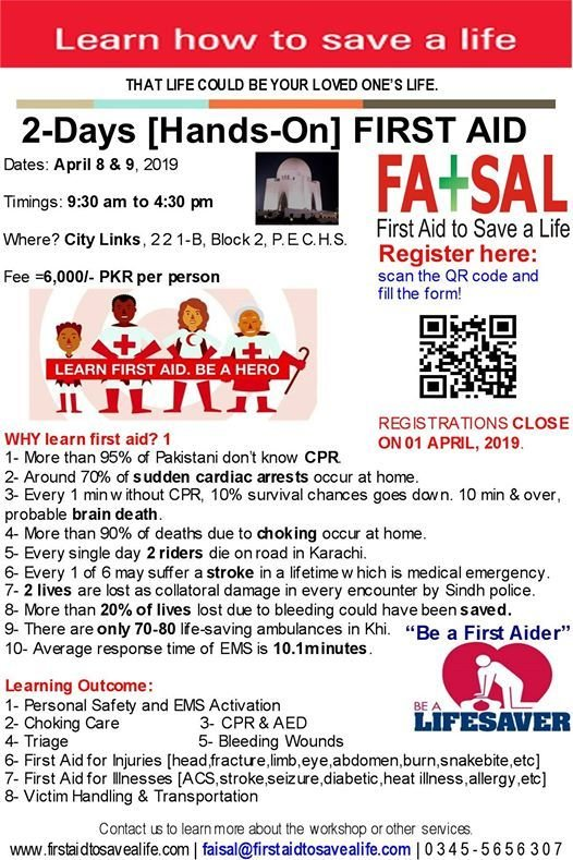 2Days Hands-on First Aid CPR and AED Karachi April 8-9
