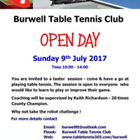 Burwell Table Tennis Club Open Day