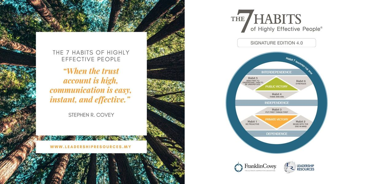 The 7 Habits Of Highly Effective People 18-20 November 2019