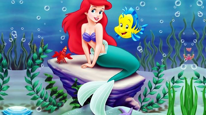 it s a swimming party with ariel sebastian flounder ursula at