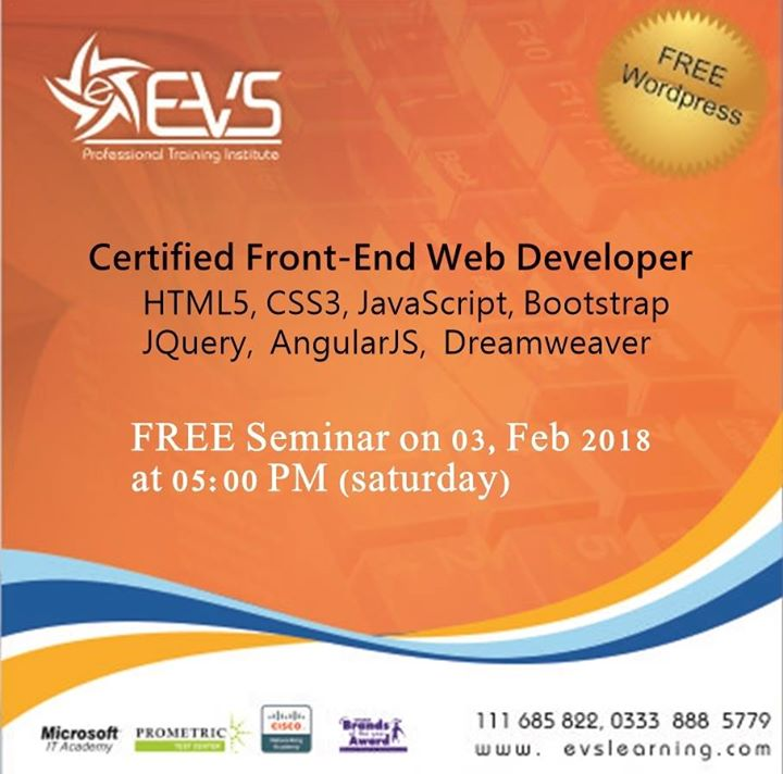 Certified Front End Web Developer With Free Wordpress At Evs