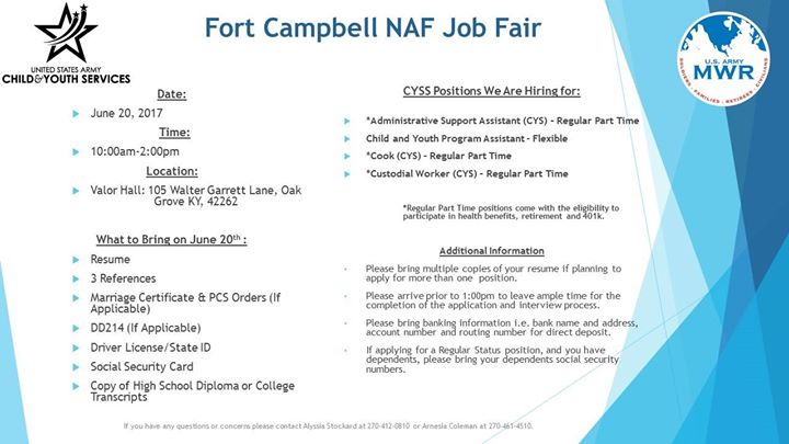Fort Campbell Child Youth Services NAF Job Fair at Valor Hall: 105