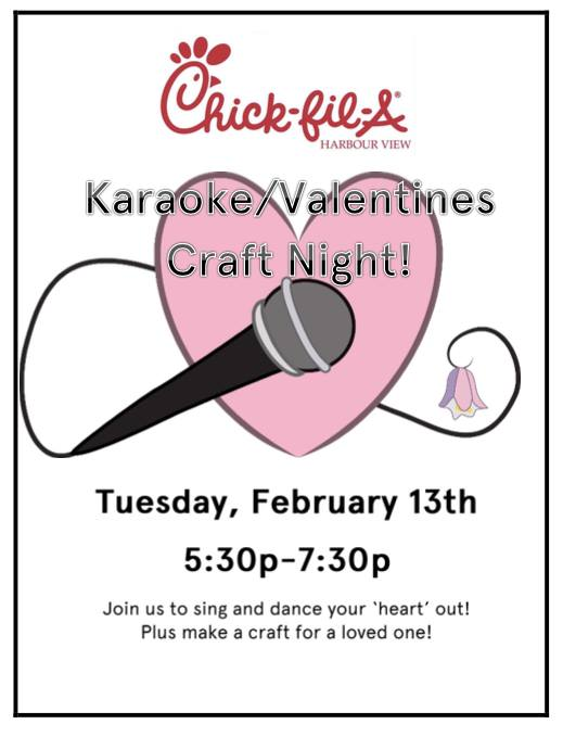 Karaoke Valentine Craft Night At Chick Fil A Harbour View Suffolk