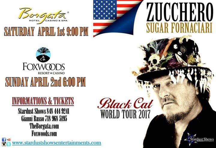 zucchero black cat tour 2017 at borgata hotel casino spa atlantic city. Black Bedroom Furniture Sets. Home Design Ideas