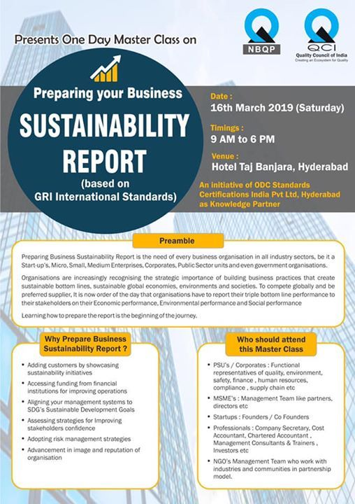 Master Class on Sustainability Report