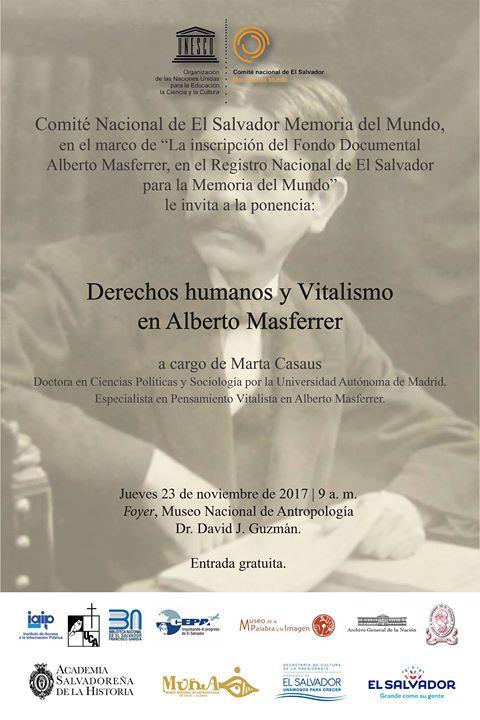 Conferencia Derechos humanos y Vitalismo en Alberto Masferrer.