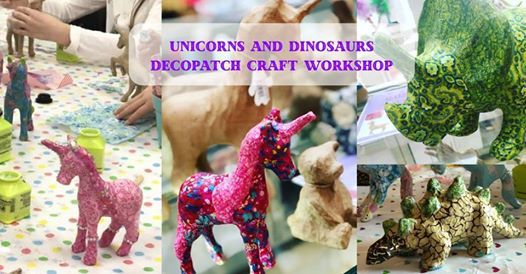 Unicorn and Dinosaur Decopatch craft at The Creative Coffee Hub
