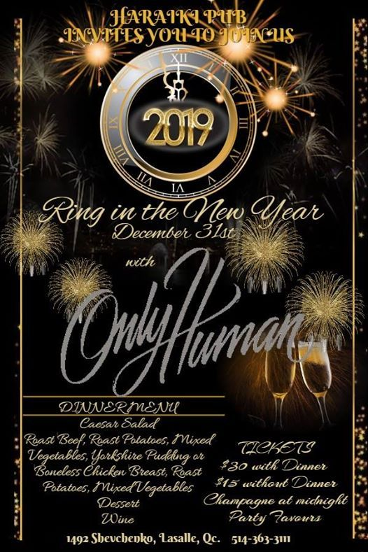 haraiki pub presents new years eve party featuring only human at haraiki pub quebec
