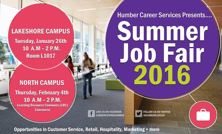 Summer Job Fair 2016 at Humber College - Career Centre ...