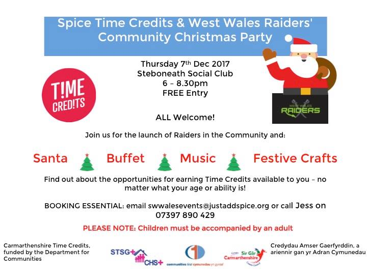 Spice & West Wales Raiders Community Christmas Party at
