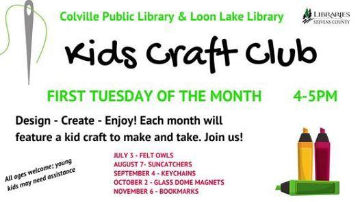 Cv Kids Craft Club At Colville Public Library Washington