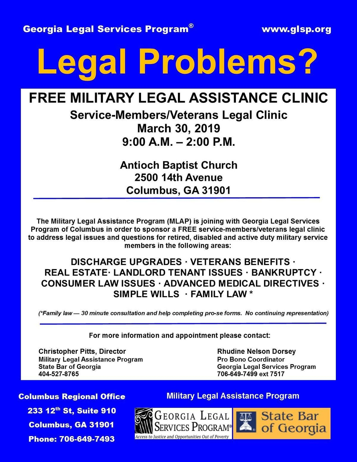 FREE MILITARY LEGAL ASSISTANCE CLINIC at Antioch Baptist Church