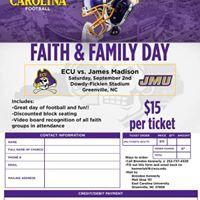 Faith and Family Day-ECU vs James Madison