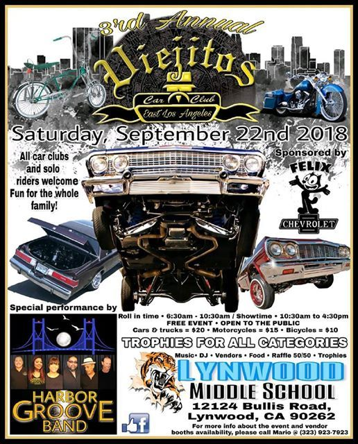 The Harbor Groove Band At The Viejitos ELA Car Show California - Car show los angeles ca