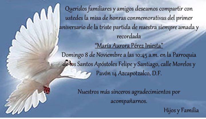 Misa 1er aniversario luctuoso de Auroris at Parroquia de los Santos ...