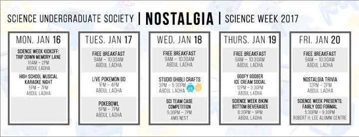 SUS Science Week 2017 ft. Freebies