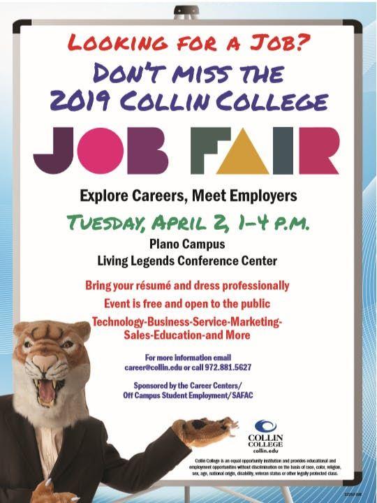Collin College Job Fair 2019 At 2800 E Spring Creek Pkwy Plano