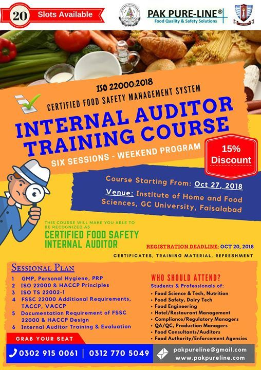 Certified ISO 22000 Internal Auditor Training Course