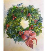 Paint a Watercolor Christmas Wreath