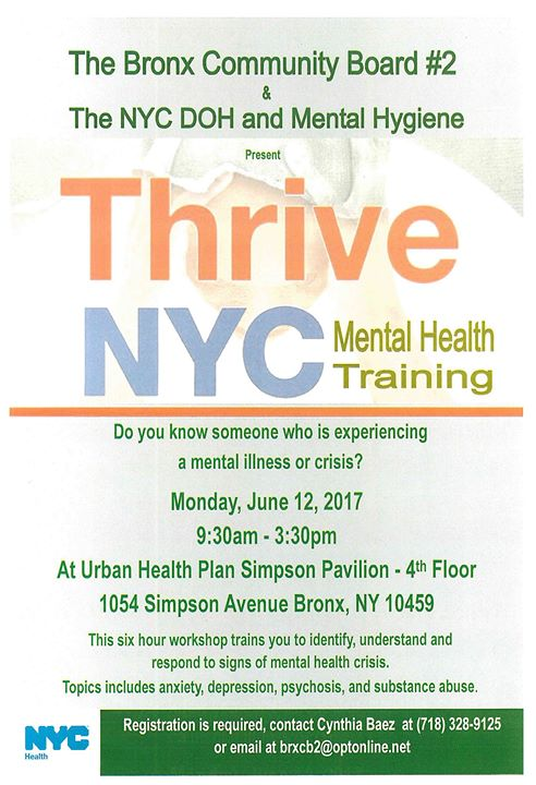 Thrive Nyc Mental Health Training At 1054 Simpson St Bronx Ny