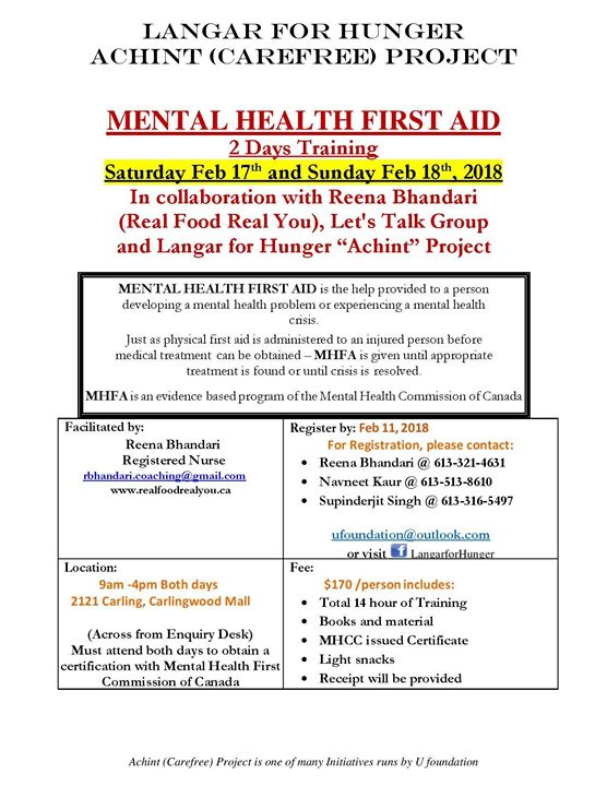 2 Day Workshop On Mental Health First Aid At 2121 Carling Ave