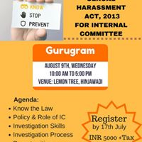 Workshop On Sexual Harassment Act2013 For Internal Committee